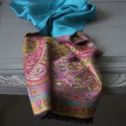 Indian Jamawar cotton scarf blue and violet