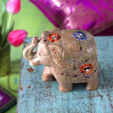 Indian inlaid marble statue Elephant