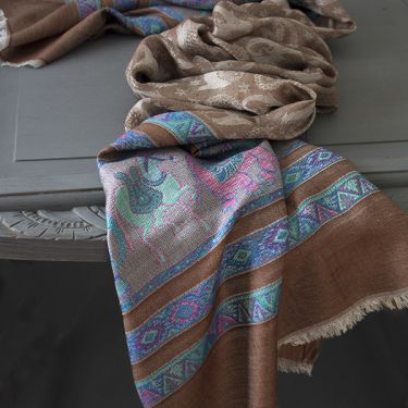 Indian mix cotton scarf beige and blue