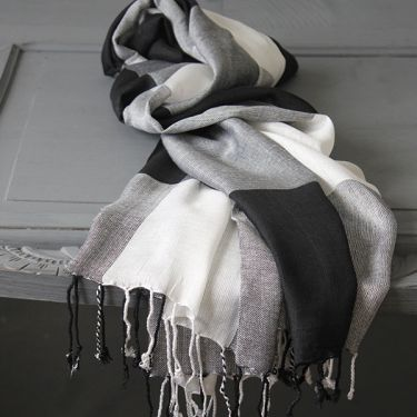 Indian scarf cotton squares black and white