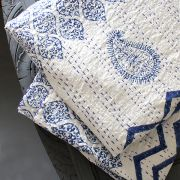 Indian handicraft bed cover Kantha blue and white
