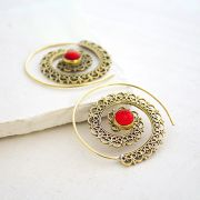 Indian earrings ethnic jewel red stone