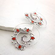 Indian earrings ethnic jewel red stones