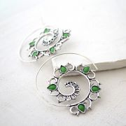 Indian earrings ethnic jewel green stones