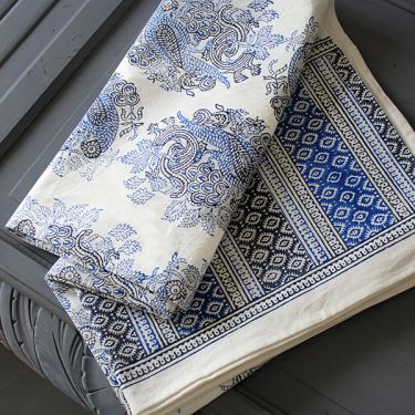 Indian printed table cover blue and black