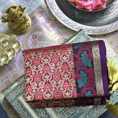 Indian handicraft table runner Sandhya purple