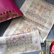 Indian handicraft table runner Sandhya grey and pink