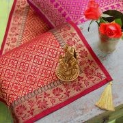 Indian handicraft table runner Sandhya maroon
