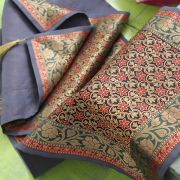 Indian handicraft table runner Sandhya blue and red
