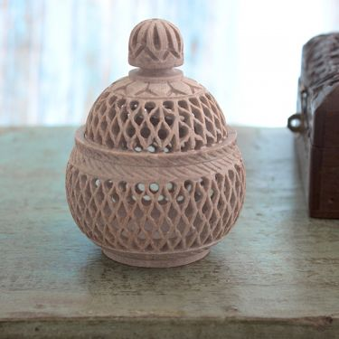 Indian soapstone tealight handicraft