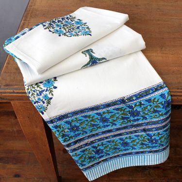 Indian printed table cover Sanganeri blue
