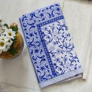 Indian printed table cover white and blue