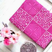 Indian printed tablecloth Dabu pink