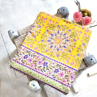 Indian printed bedsheet handicraft flowers yellow