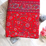 Indian printed bed sheet handicraft flowers red