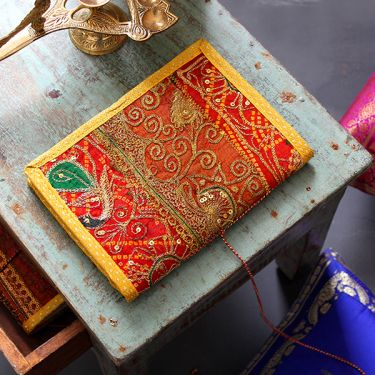 Indian handicraft recycled cotton diary yellow