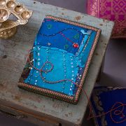 Indian handicraft diary 100% cotton light blue