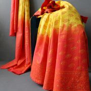 Indian cotton skirt Sanganeri print orange and yellow