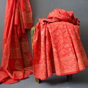 Indian cotton skirt Sanganeri print orange