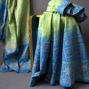 Indian cotton skirt Sanganeri print blue and green