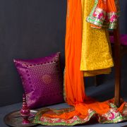 Indian skirt Lehenga with Chuni orange and yellow