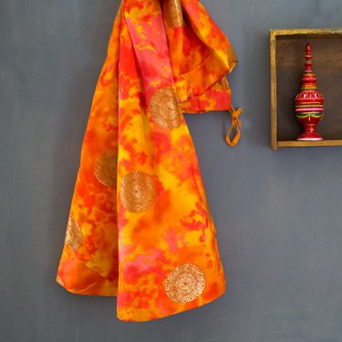 Jupe indienne longue Jaipuri orange