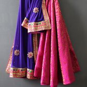 Indian skirt Lehenga with Chuni pink and purple