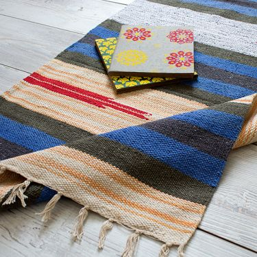 Indian carpet handicraft Dari dark blue and orange