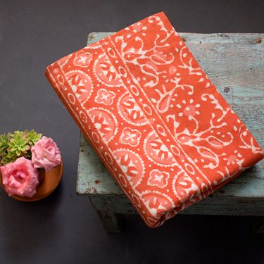 Indian printed tablecloth Dabu orange
