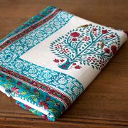 Indian printed table cover Sanganeri cyan