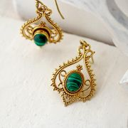 Indian earrings bohemian jewel green