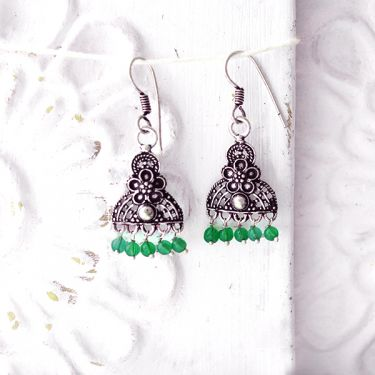 Indian earrings green pearls