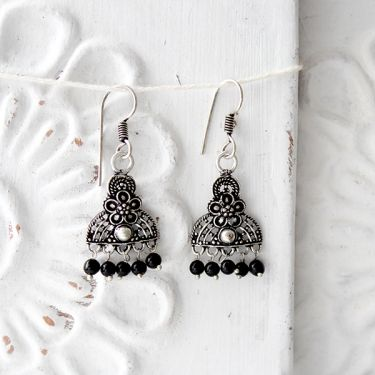Indian earrings black pearls