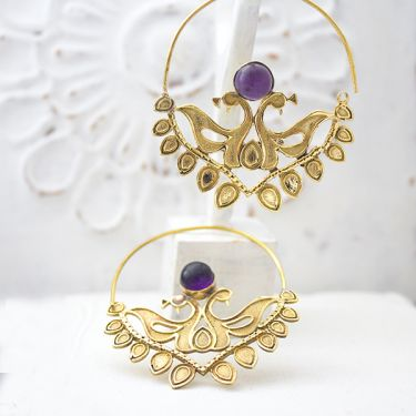 Indian earrings ethnic jewel purple peacock