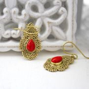 Indian earrings bohemian jewel red