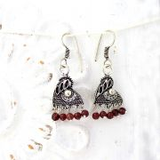 Indian earrings plum pearls