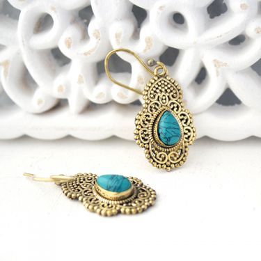 Indian earrings bohemian jewel turquoise