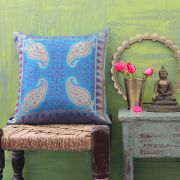 Indian cushion cover Benarasi blue L40