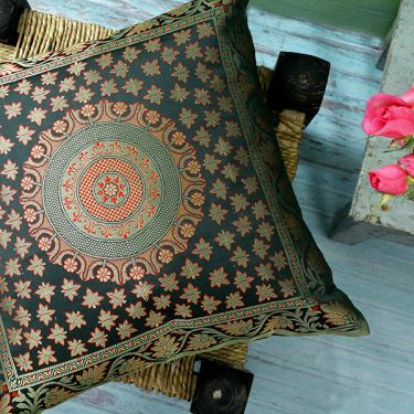 Indian cushion cover Benarasi dark green L40