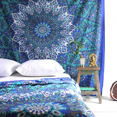 Indian cotton wall hanging Elephants blue and green
