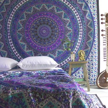 Indian cotton wall hanging Elephants purple and green
