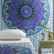 Indian cotton wall hanging Mandala blue and green