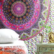 Indian cotton wall hanging Mandala pink and green