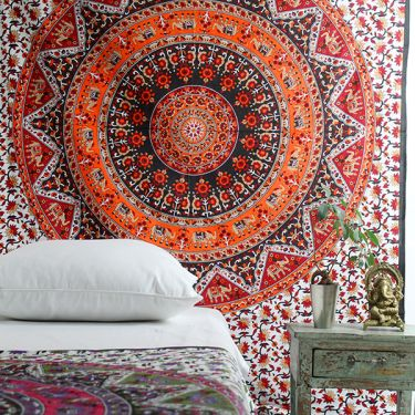 Indian cotton wall hanging Mandala orange and green