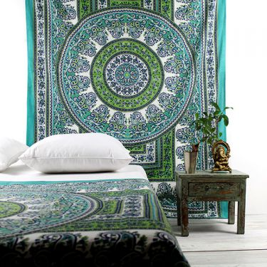 Indian cotton wall hanging Mandala white and green