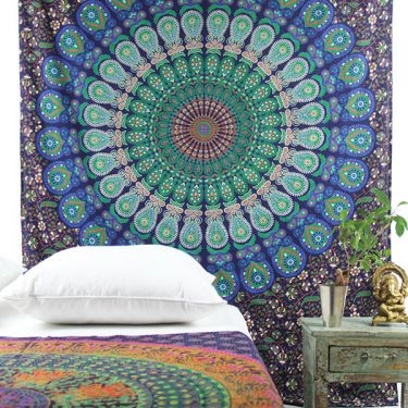 Indian cotton wall hanging Mandala dark blue and green