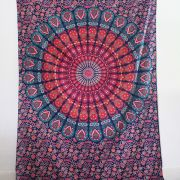 Indian cotton wall hanging Mandala dark blue and orange