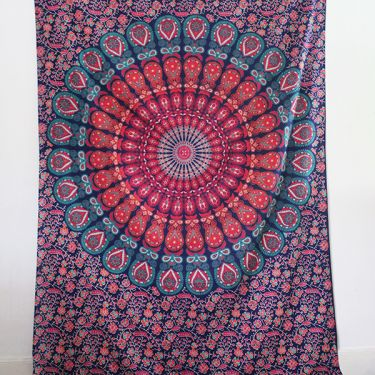 Indian cotton wall hanging Mandala beige and black
