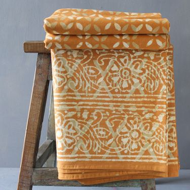 Indian printed bedsheet Bagru handicraft light brown