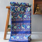 Indian printed bedsheet handicraft blue and yellow